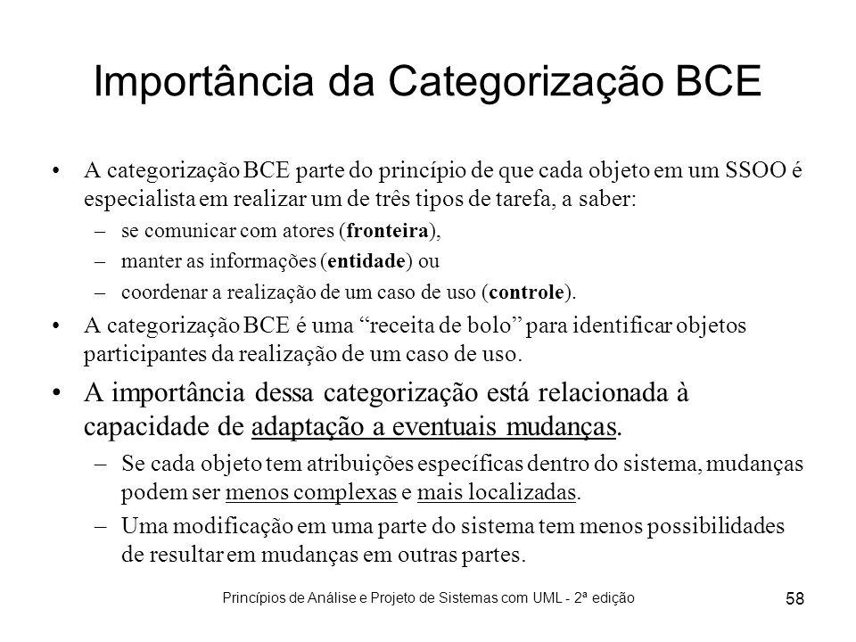 Princípios de Análise e Projeto de Sistemas com UML - 2ª edição 58 Importância da Categorização BCE A categorização BCE parte do princípio de que cada