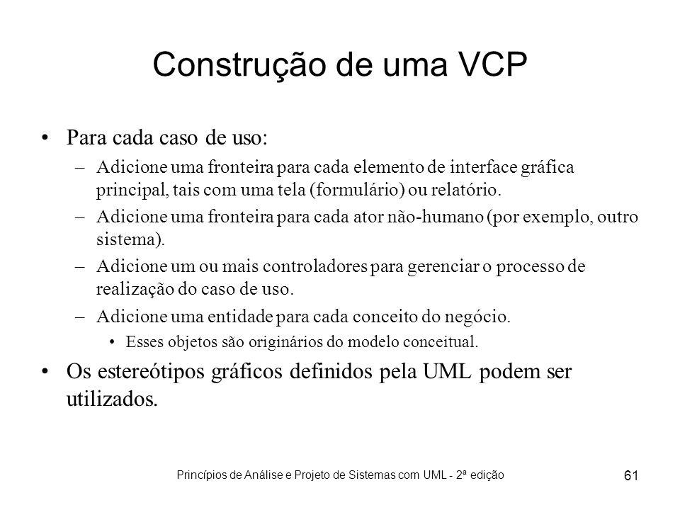 Princípios de Análise e Projeto de Sistemas com UML - 2ª edição 61 Construção de uma VCP Para cada caso de uso: –Adicione uma fronteira para cada elem