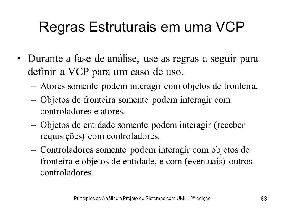 Princípios de Análise e Projeto de Sistemas com UML - 2ª edição 63 Regras Estruturais em uma VCP Durante a fase de análise, use as regras a seguir par
