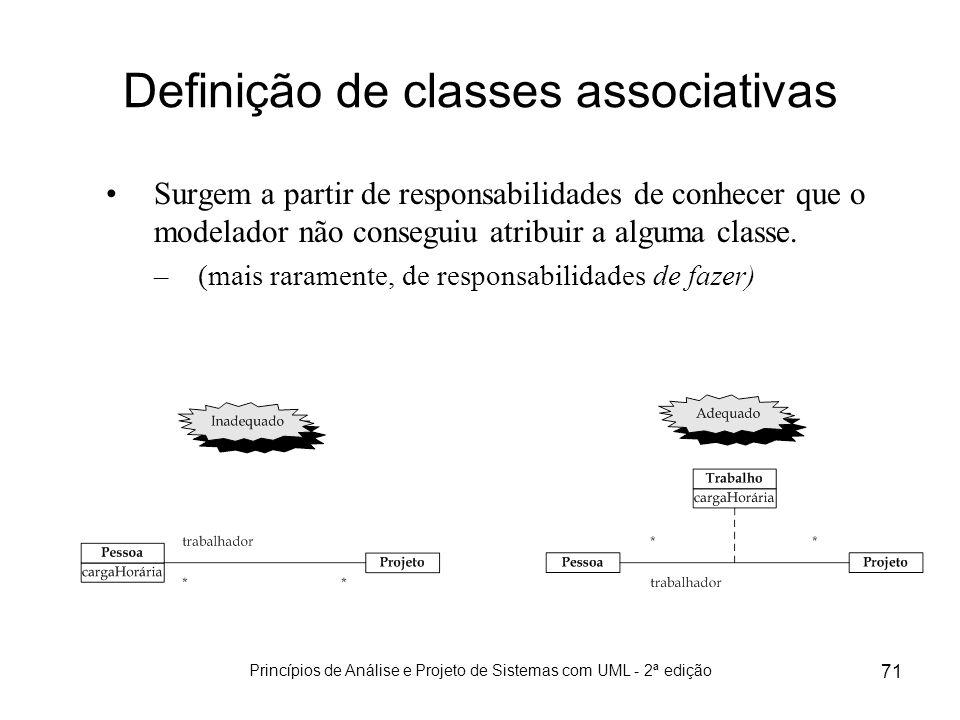 Princípios de Análise e Projeto de Sistemas com UML - 2ª edição 71 Definição de classes associativas Surgem a partir de responsabilidades de conhecer