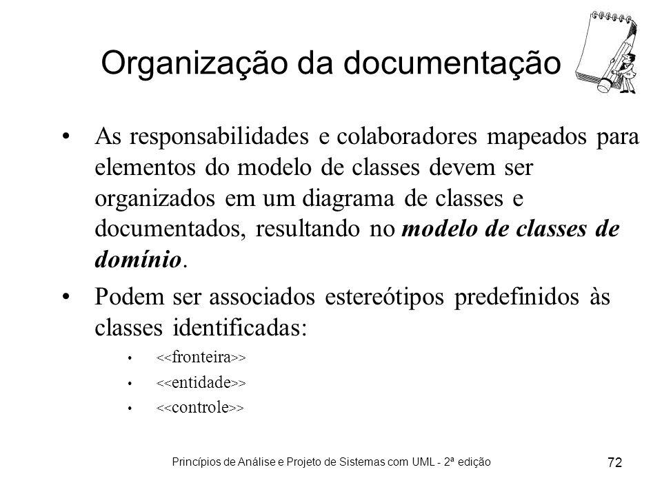 Princípios de Análise e Projeto de Sistemas com UML - 2ª edição 72 Organização da documentação As responsabilidades e colaboradores mapeados para elem