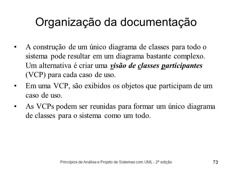 Princípios de Análise e Projeto de Sistemas com UML - 2ª edição 73 Organização da documentação A construção de um único diagrama de classes para todo