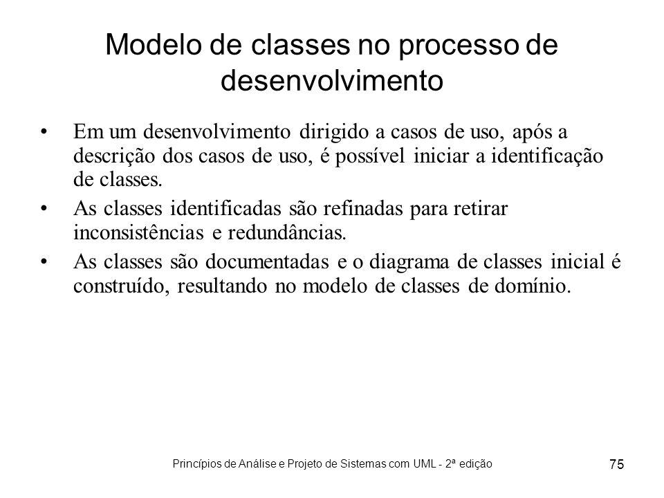 Princípios de Análise e Projeto de Sistemas com UML - 2ª edição 75 Modelo de classes no processo de desenvolvimento Em um desenvolvimento dirigido a c