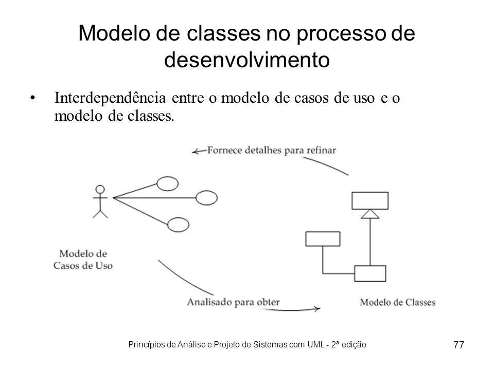 Princípios de Análise e Projeto de Sistemas com UML - 2ª edição 77 Modelo de classes no processo de desenvolvimento Interdependência entre o modelo de