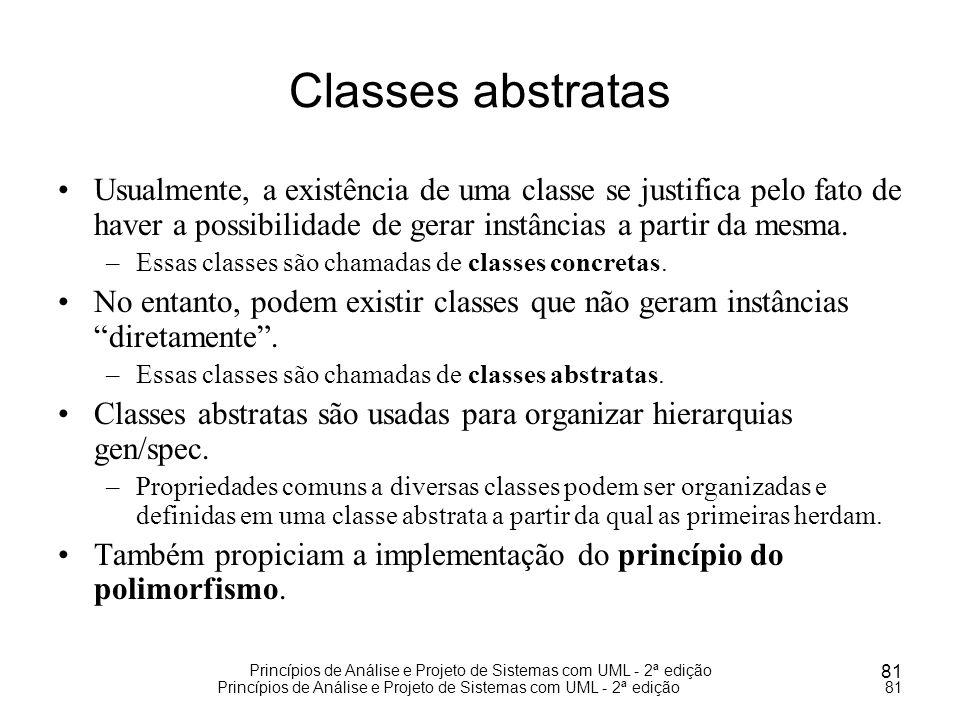 Princípios de Análise e Projeto de Sistemas com UML - 2ª edição 81 Princípios de Análise e Projeto de Sistemas com UML - 2ª edição81 Classes abstratas