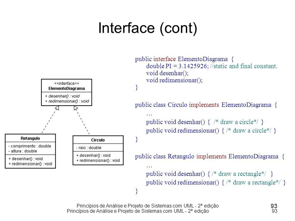 Princípios de Análise e Projeto de Sistemas com UML - 2ª edição 93 Princípios de Análise e Projeto de Sistemas com UML - 2ª edição93 Interface (cont)