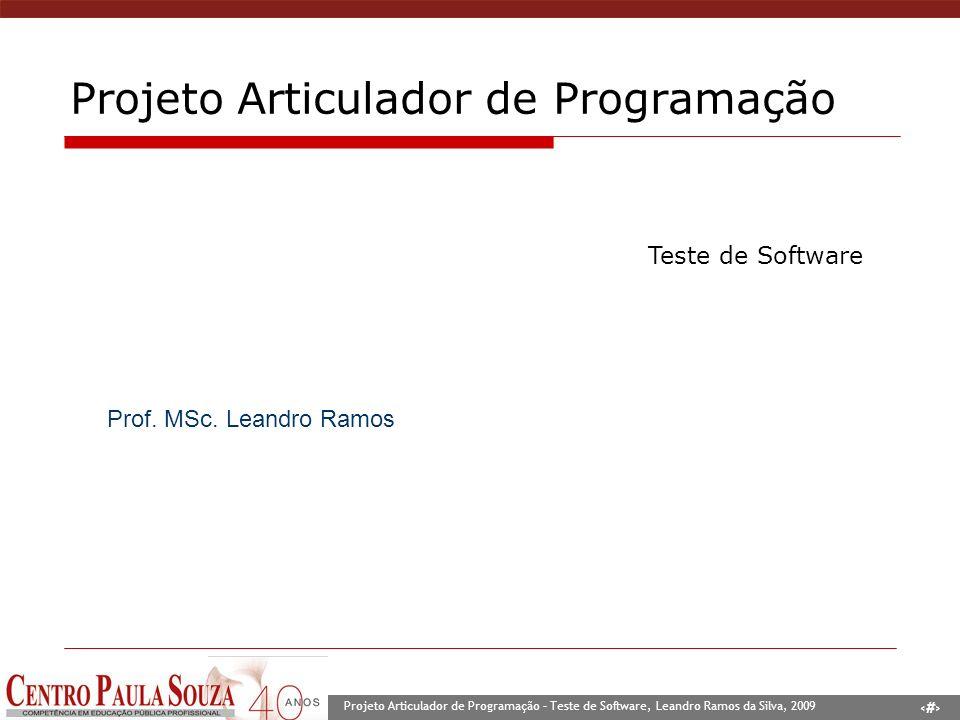 1 Projeto Articulador de Programação – Teste de Software, Leandro Ramos da Silva, 2009 Prof. MSc. Leandro Ramos Projeto Articulador de Programação Tes
