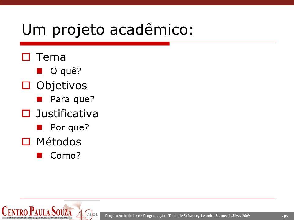 2 Projeto Articulador de Programação – Teste de Software, Leandro Ramos da Silva, 2009 Um projeto acadêmico: Tema O quê? Objetivos Para que? Justifica
