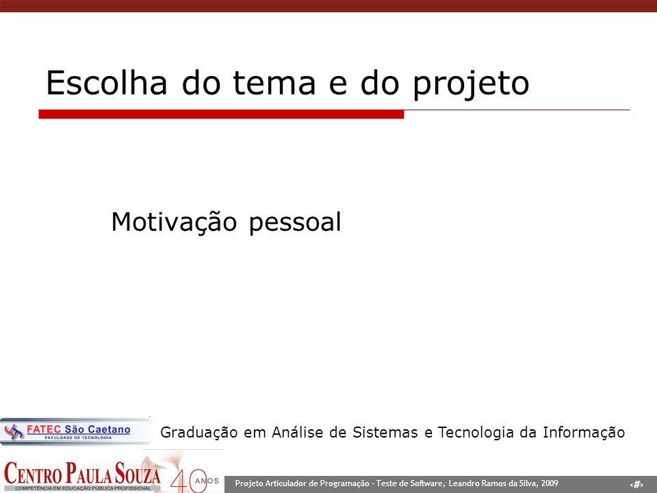 3 Projeto Articulador de Programação – Teste de Software, Leandro Ramos da Silva, 2009 Graduação em Análise de Sistemas e Tecnologia da Informação Esc