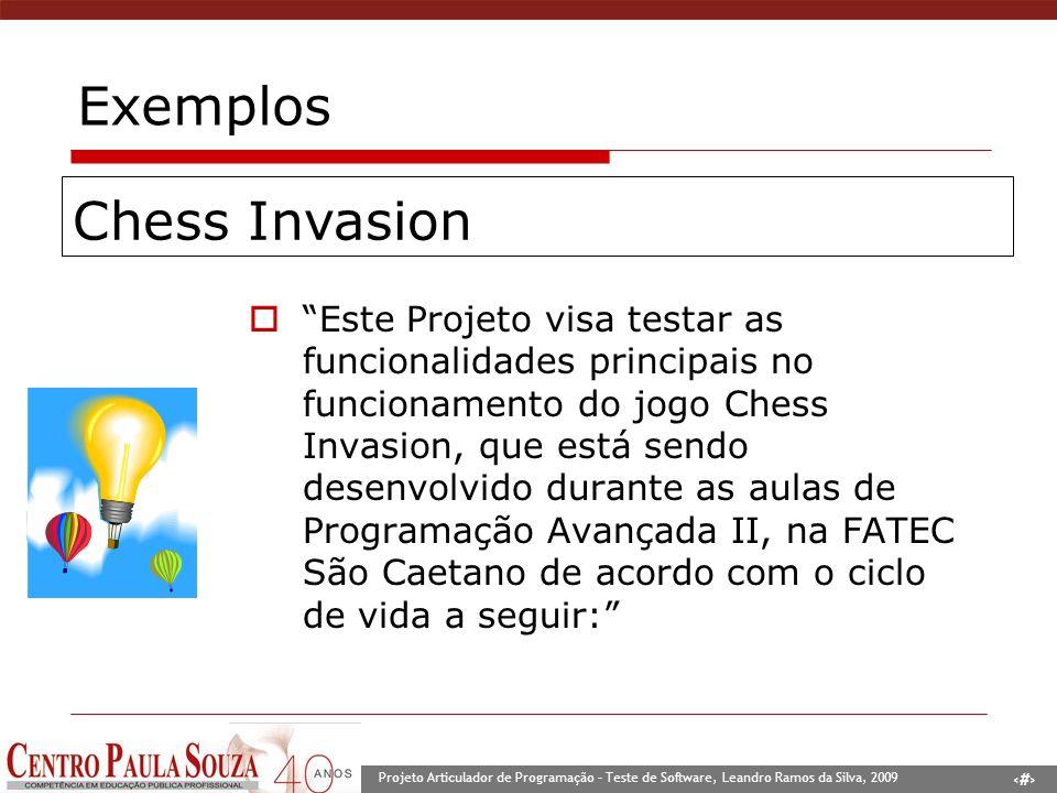5 Projeto Articulador de Programação – Teste de Software, Leandro Ramos da Silva, 2009 Exemplos O nosso Plano de Teste visa a realização de testes nas principais funcionalidades do jogo BomberBoy, consideradas essenciais para seu funcionamento.
