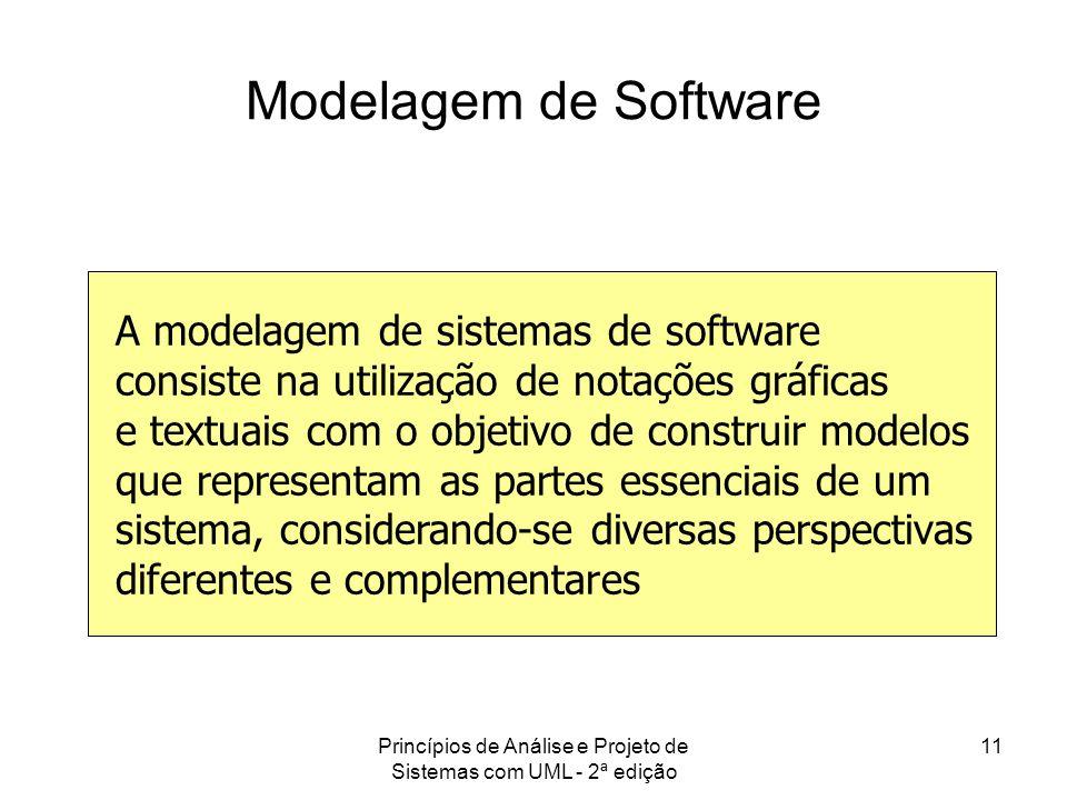Princípios de Análise e Projeto de Sistemas com UML - 2ª edição 11 Modelagem de Software A modelagem de sistemas de software consiste na utilização de