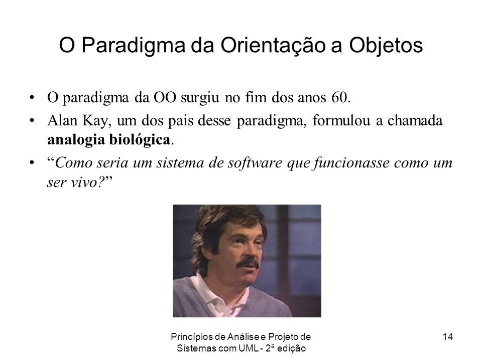 Princípios de Análise e Projeto de Sistemas com UML - 2ª edição 14 O Paradigma da Orientação a Objetos O paradigma da OO surgiu no fim dos anos 60. Al