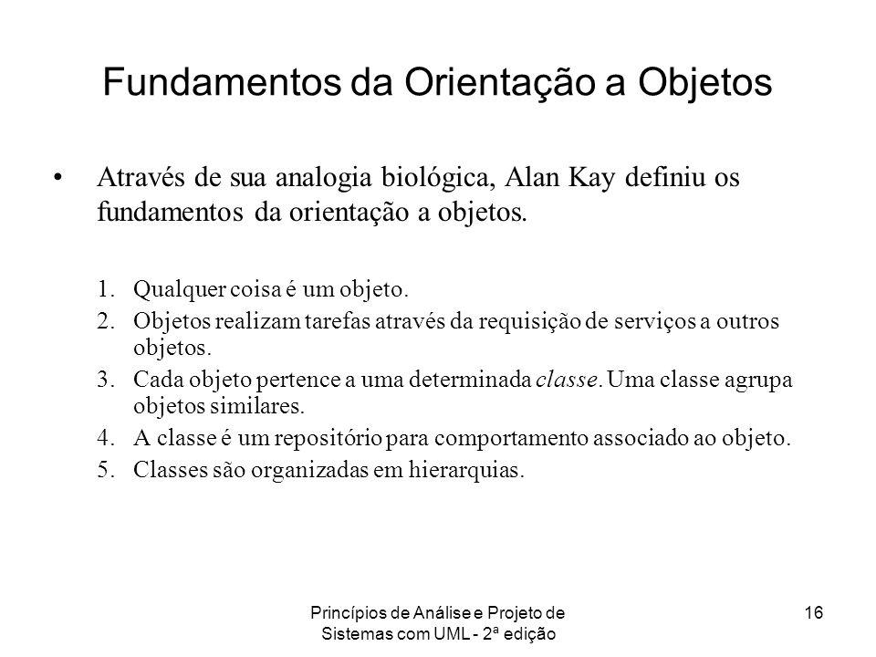 Princípios de Análise e Projeto de Sistemas com UML - 2ª edição 16 Fundamentos da Orientação a Objetos Através de sua analogia biológica, Alan Kay def