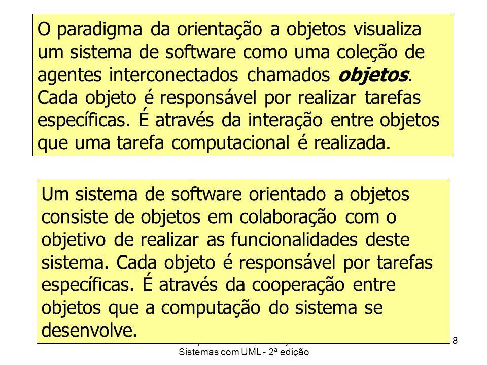 Princípios de Análise e Projeto de Sistemas com UML - 2ª edição 18 Paradigma da Orientação a Objetos O paradigma da orientação a objetos visualiza um