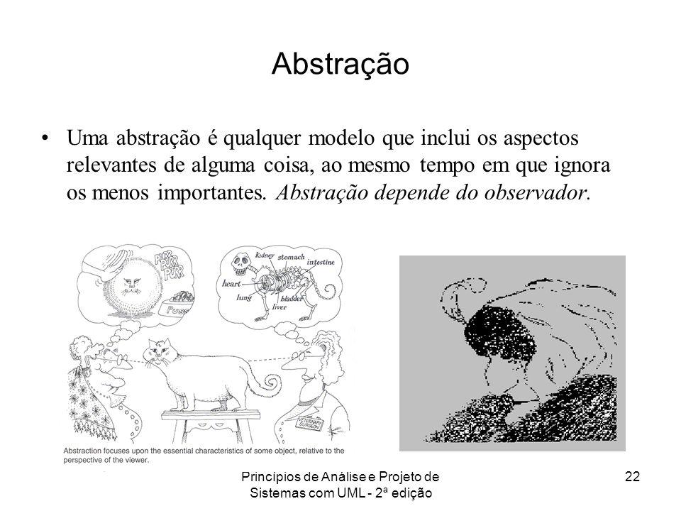 Princípios de Análise e Projeto de Sistemas com UML - 2ª edição 22 Abstração Uma abstração é qualquer modelo que inclui os aspectos relevantes de algu