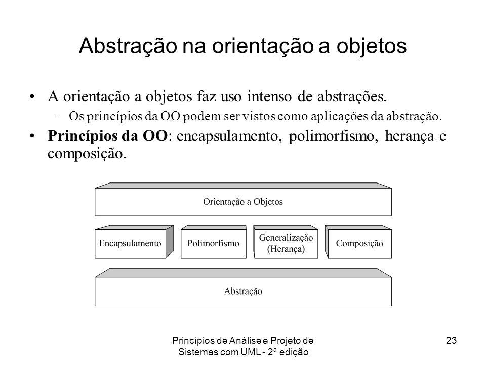 Princípios de Análise e Projeto de Sistemas com UML - 2ª edição 23 Abstração na orientação a objetos A orientação a objetos faz uso intenso de abstraç