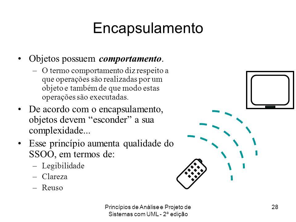Princípios de Análise e Projeto de Sistemas com UML - 2ª edição 28 Encapsulamento Objetos possuem comportamento. –O termo comportamento diz respeito a