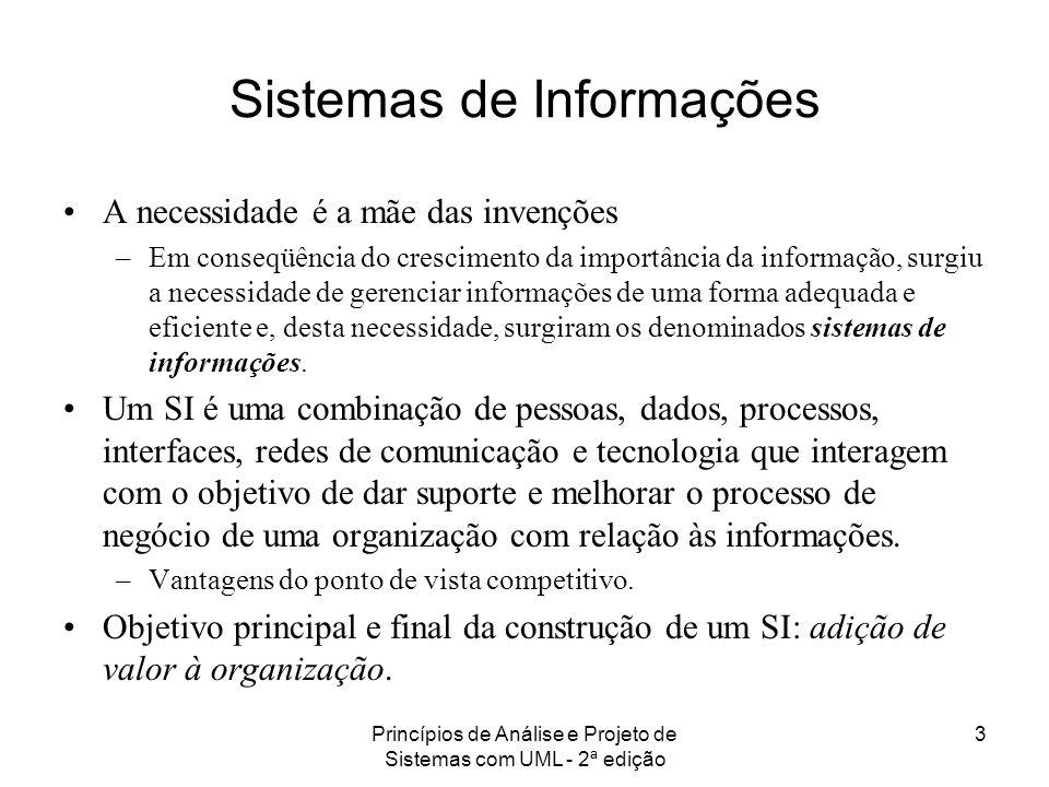 Princípios de Análise e Projeto de Sistemas com UML - 2ª edição 3 Sistemas de Informações A necessidade é a mãe das invenções –Em conseqüência do cres