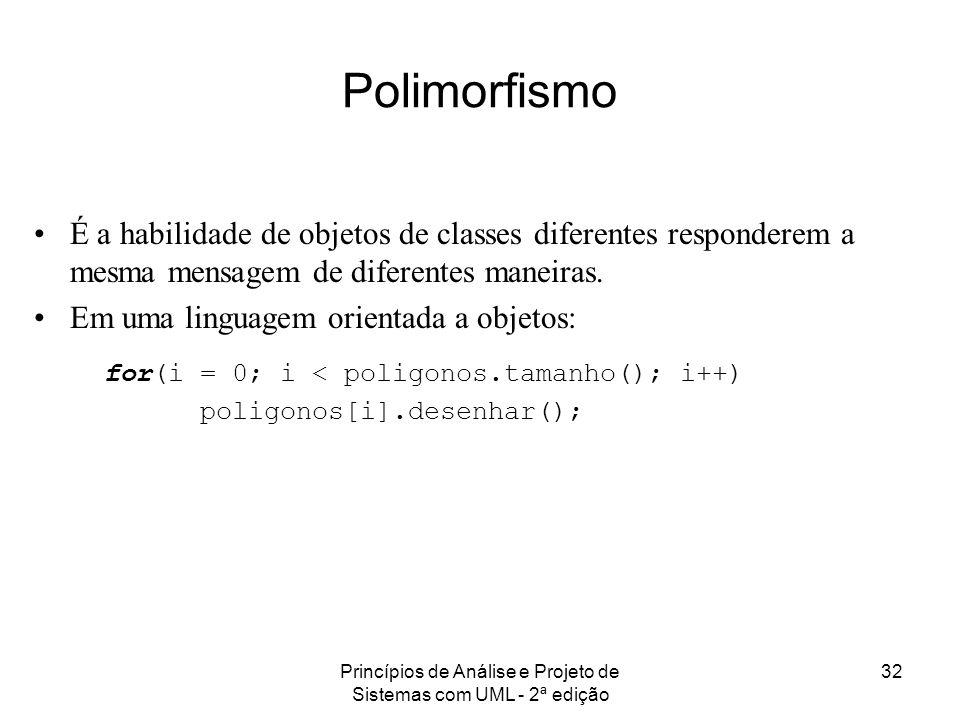 Princípios de Análise e Projeto de Sistemas com UML - 2ª edição 32 Polimorfismo É a habilidade de objetos de classes diferentes responderem a mesma me