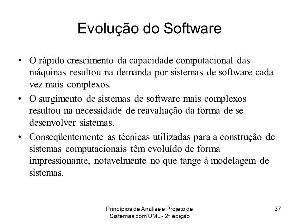 Princípios de Análise e Projeto de Sistemas com UML - 2ª edição 37 Evolução do Software O rápido crescimento da capacidade computacional das máquinas
