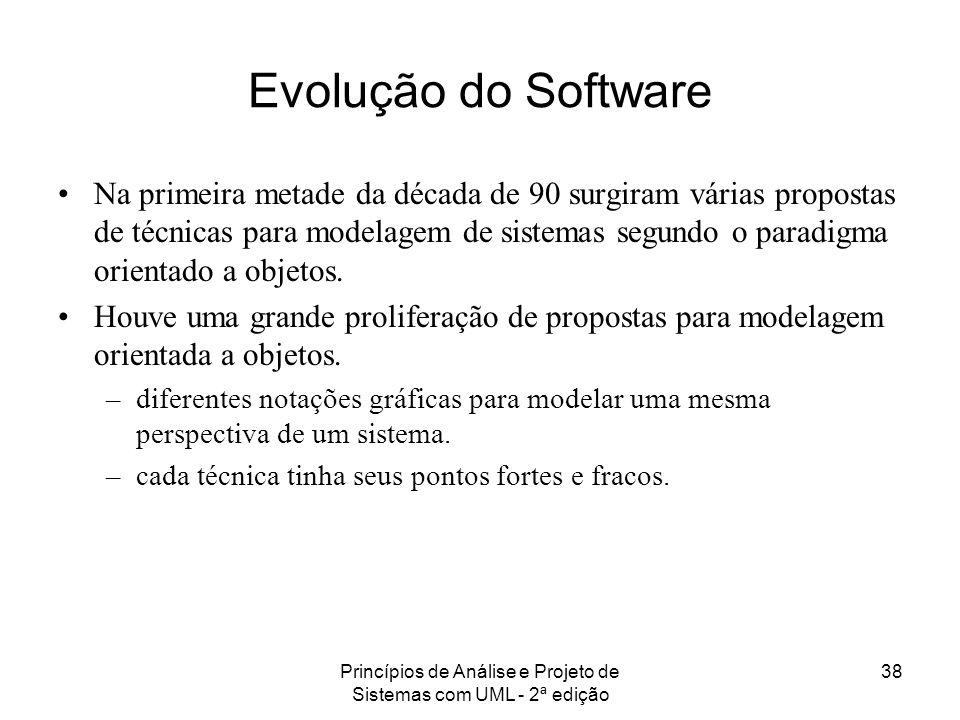 Princípios de Análise e Projeto de Sistemas com UML - 2ª edição 38 Evolução do Software Na primeira metade da década de 90 surgiram várias propostas d