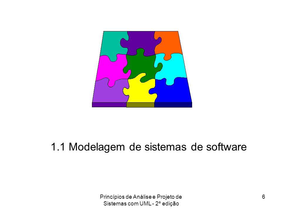 Princípios de Análise e Projeto de Sistemas com UML - 2ª edição 7 Modelos de Software Na construção de sistemas de software, assim como na construção de sistemas habitacionais, também há uma gradação de complexidade.