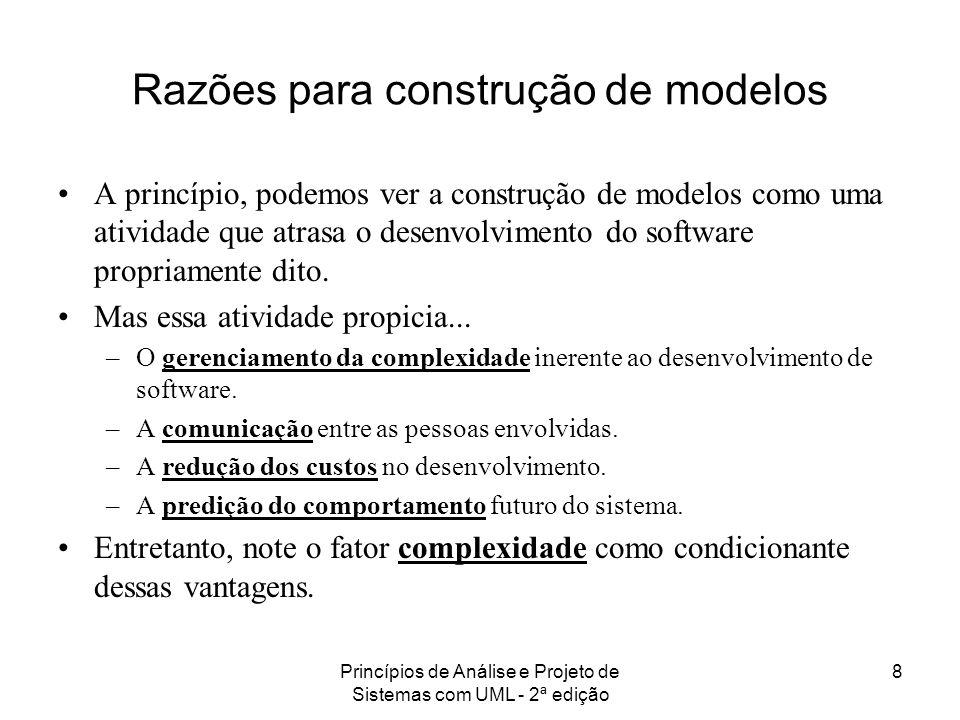 Princípios de Análise e Projeto de Sistemas com UML - 2ª edição 8 A princípio, podemos ver a construção de modelos como uma atividade que atrasa o des