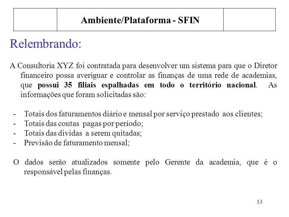 13 Ambiente/Plataforma - SFIN Relembrando: A Consultoria XYZ foi contratada para desenvolver um sistema para que o Diretor financeiro possa averiguar