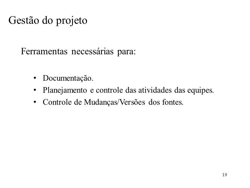 19 Gestão do projeto Ferramentas necessárias para: Documentação. Planejamento e controle das atividades das equipes. Controle de Mudanças/Versões dos