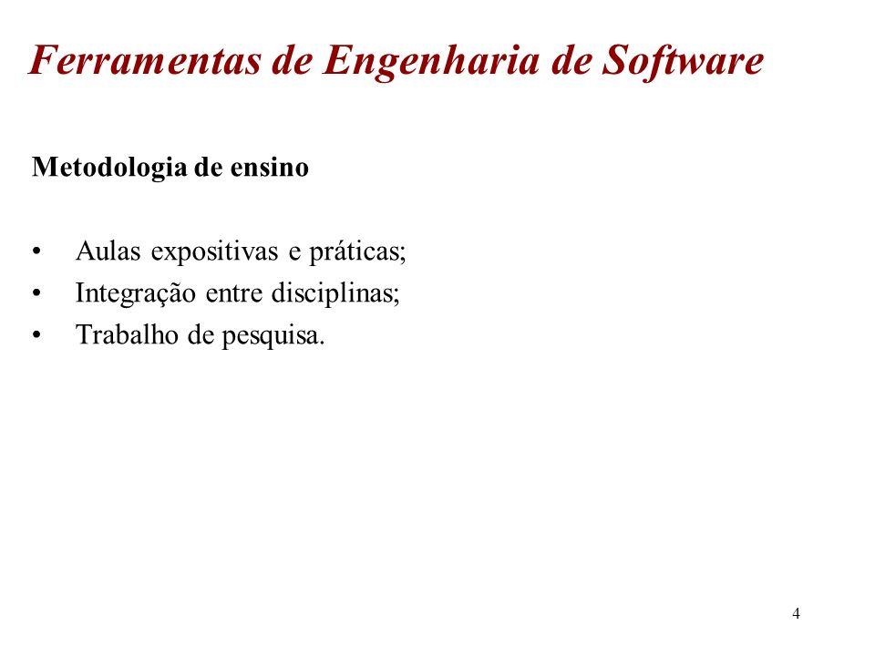 5 Forma de avaliação Avaliação de acordo ao regimento; Trabalho de pesquisa – individual ou em grupo; Ferramentas de Engenharia de Software