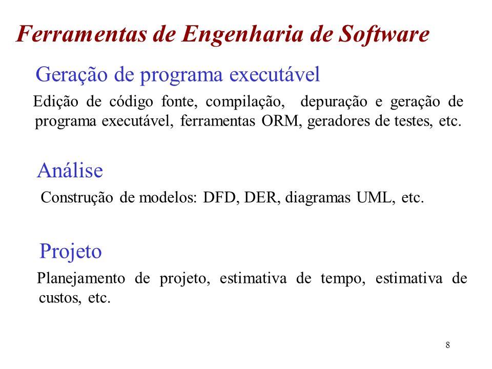 8 Geração de programa executável Edição de código fonte, compilação, depuração e geração de programa executável, ferramentas ORM, geradores de testes,