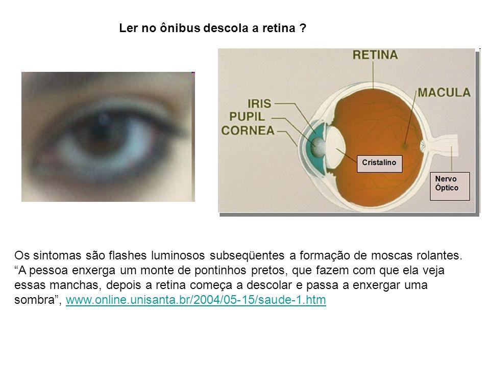Ler no ônibus descola a retina ? Os sintomas são flashes luminosos subseqüentes a formação de moscas rolantes. A pessoa enxerga um monte de pontinhos