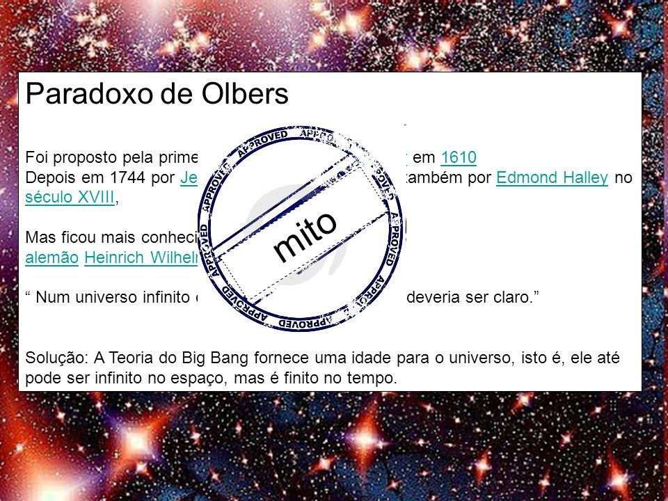 Paradoxo de Olbers Foi proposto pela primeira vez por Johannes Kepler em 1610Johannes Kepler1610 Depois em 1744 por Jean-Philippe de Cheseaux e também