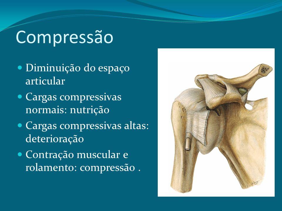 Compressão Diminuição do espaço articular Cargas compressivas normais: nutrição Cargas compressivas altas: deterioração Contração muscular e rolamento: compressão.