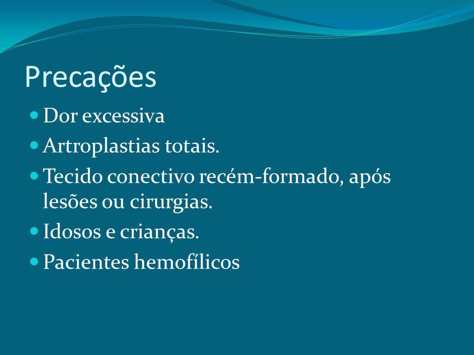 Precações Dor excessiva Artroplastias totais. Tecido conectivo recém-formado, após lesões ou cirurgias. Idosos e crianças. Pacientes hemofílicos