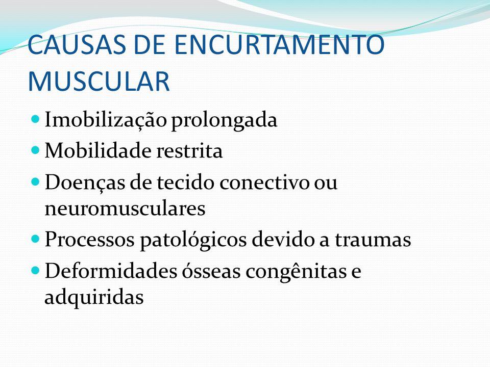 CAUSAS DE ENCURTAMENTO MUSCULAR Imobilização prolongada Mobilidade restrita Doenças de tecido conectivo ou neuromusculares Processos patológicos devid