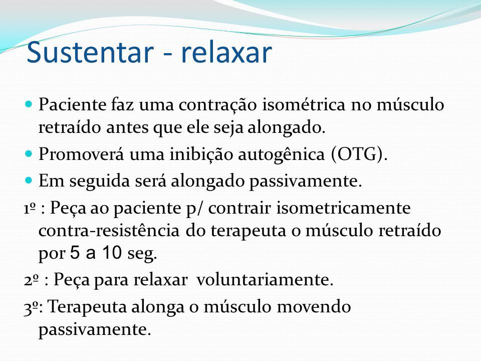 Sustentar - relaxar Paciente faz uma contração isométrica no músculo retraído antes que ele seja alongado. Promoverá uma inibição autogênica (OTG). Em