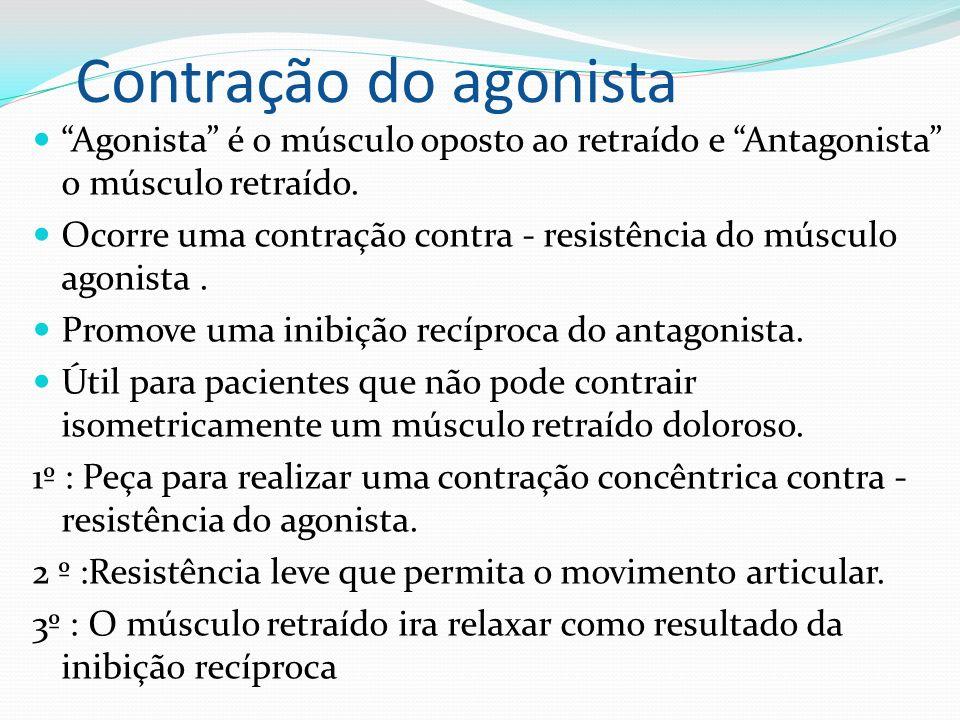 Contração do agonista Agonista é o músculo oposto ao retraído e Antagonista o músculo retraído. Ocorre uma contração contra - resistência do músculo a