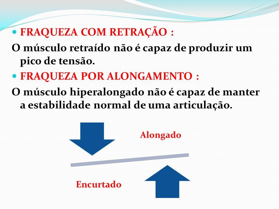 FRAQUEZA COM RETRAÇÃO : O músculo retraído não é capaz de produzir um pico de tensão. FRAQUEZA POR ALONGAMENTO : O músculo hiperalongado não é capaz d