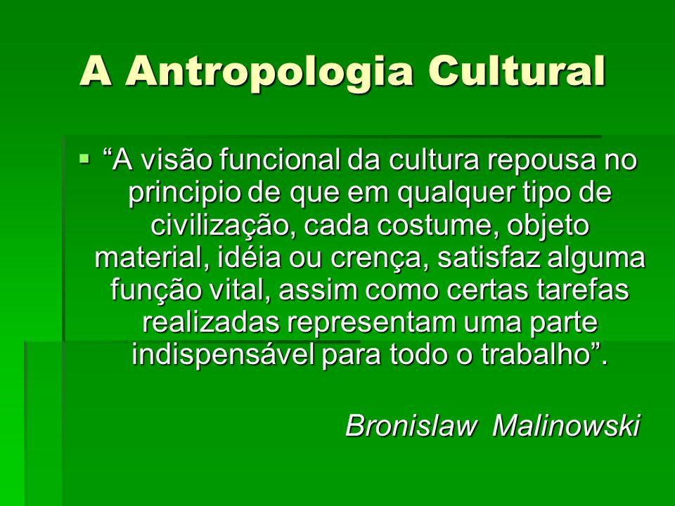 A Antropologia Cultural A visão funcional da cultura repousa no principio de que em qualquer tipo de civilização, cada costume, objeto material, idéia