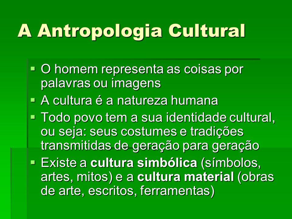 A Antropologia Cultural O homem representa as coisas por palavras ou imagens O homem representa as coisas por palavras ou imagens A cultura é a nature