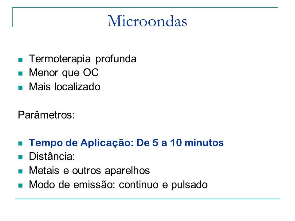 Microondas Tempo de Aplicação: De 5 a 10 minutos Contra-indicações: Semelhantes ao do Ondas curtas Não deve ser usado em região periorbicular, Órgãos reprodutores Presença de implante metálico ( ex DIU) Marcapassos Gestantes