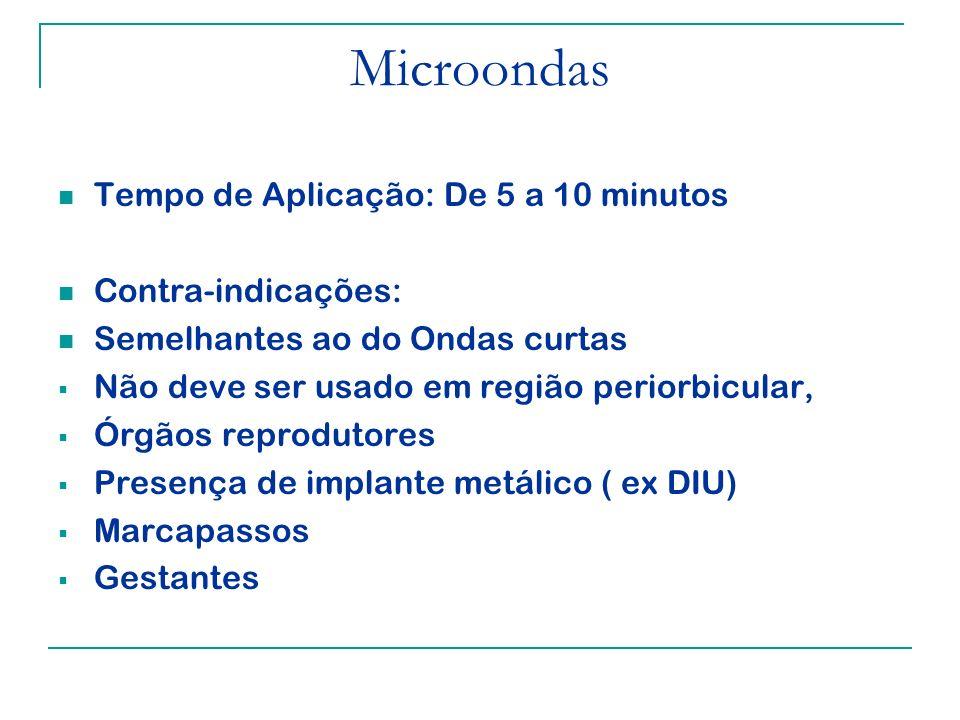 Microondas Tempo de Aplicação: De 5 a 10 minutos Contra-indicações: Semelhantes ao do Ondas curtas Não deve ser usado em região periorbicular, Órgãos