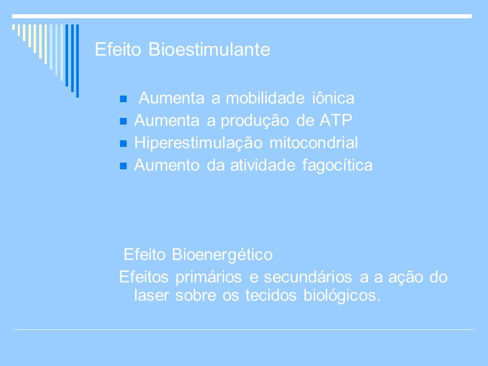 Efeito Bioestimulante Aumenta a mobilidade iônica Aumenta a produção de ATP Hiperestimulação mitocondrial Aumento da atividade fagocítica Efeito Bioen