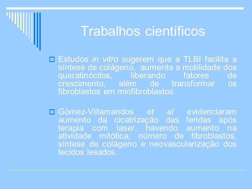 Trabalhos científicos Estudos in vitro sugerem que a TLBI facilita a síntese de colágeno, aumenta a motilidade dos queratinócitos, liberando fatores d