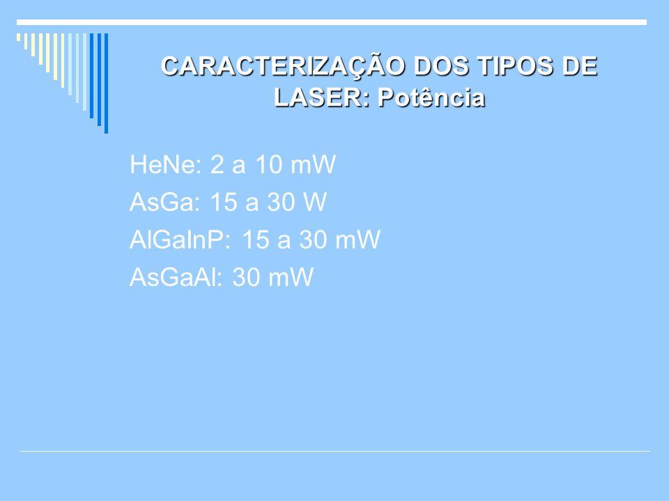 CARACTERIZAÇÃO DOS TIPOS DE LASER: Potência HeNe: 2 a 10 mW AsGa: 15 a 30 W AlGaInP: 15 a 30 mW AsGaAl: 30 mW