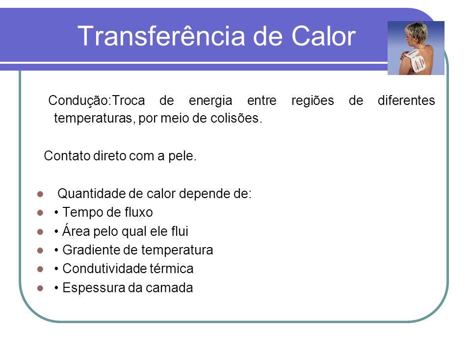 Transferência de Calor Condução:Troca de energia entre regiões de diferentes temperaturas, por meio de colisões. Contato direto com a pele. Quantidade