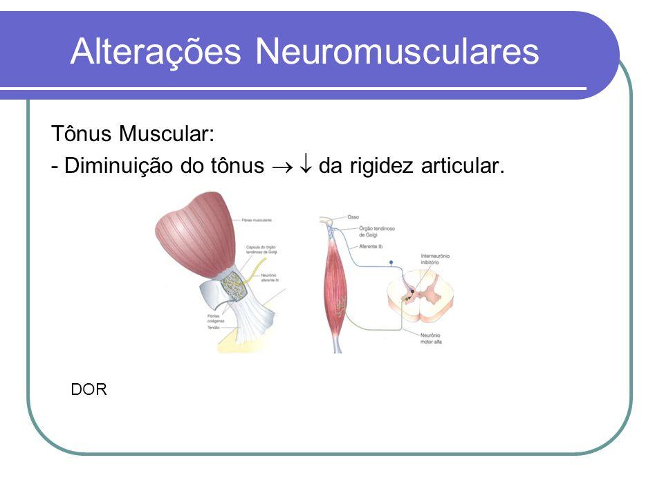 Alterações Neuromusculares Tônus Muscular: - Diminuição do tônus da rigidez articular. DOR