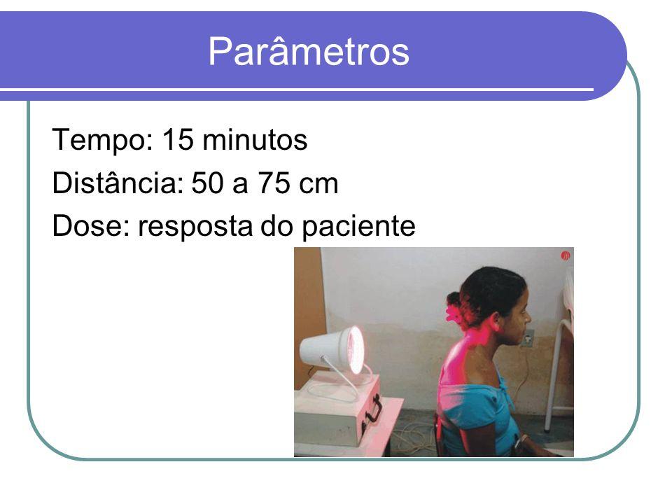 Parâmetros Tempo: 15 minutos Distância: 50 a 75 cm Dose: resposta do paciente