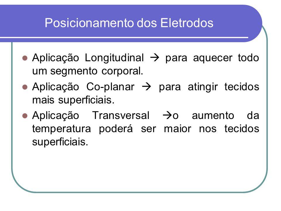 Posicionamento dos Eletrodos Aplicação Longitudinal para aquecer todo um segmento corporal. Aplicação Co-planar para atingir tecidos mais superficiais